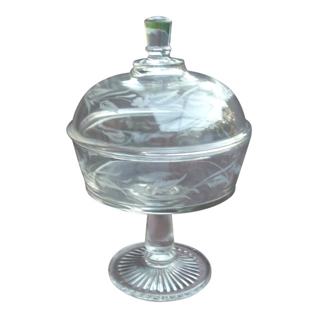 Traditional Covered Glass Compote For Sale