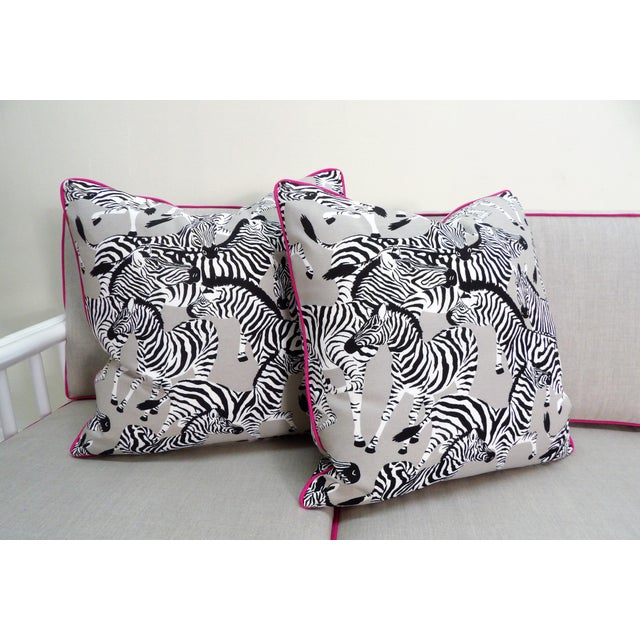 Zebra Pillows, Custom Made with Hidden Zipper - a Pair For Sale In West Palm - Image 6 of 6