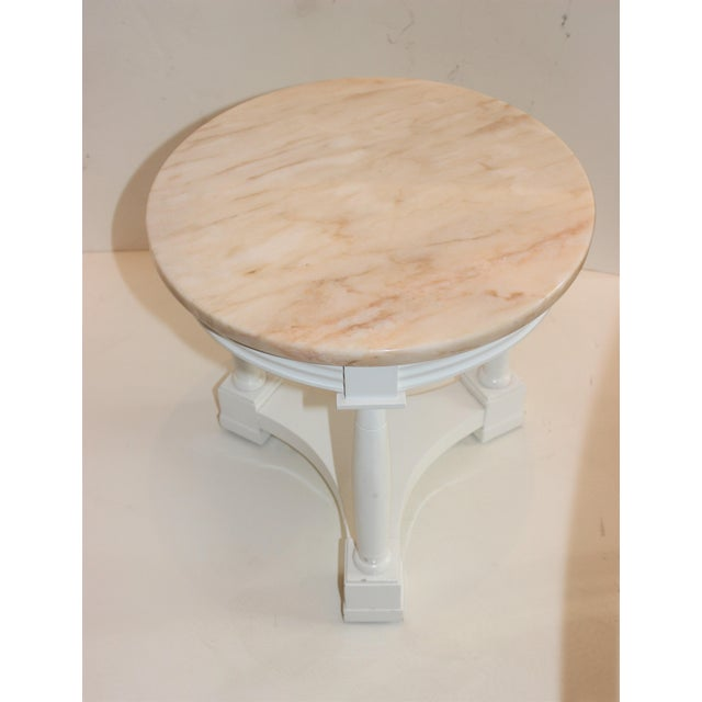 Hollywood Regency Side Tables in White Lacquer With Pink Marble: Tops 1940s - a Pair For Sale - Image 10 of 12