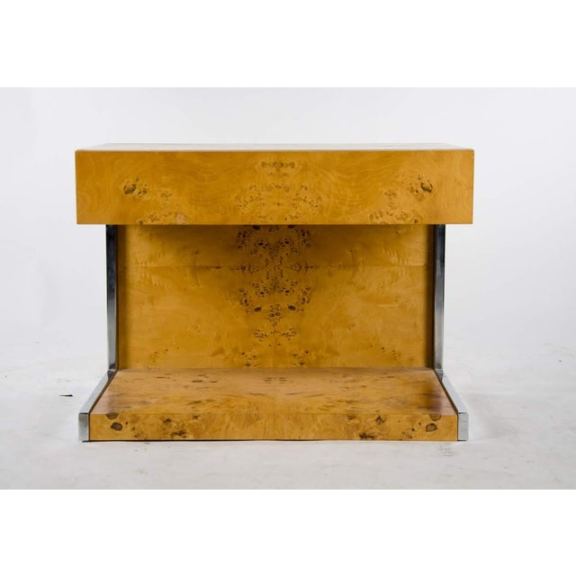 Modern 1990s Modern Burl Walnut Nightstand Side Table For Sale - Image 3 of 13