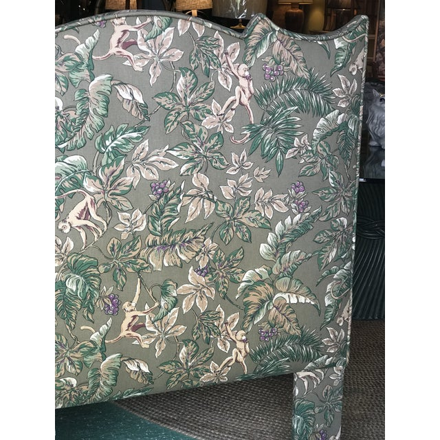 Fabric Palm Beach Regency Monkey and Palm Leaf Twin Headboards-Pair For Sale - Image 7 of 13