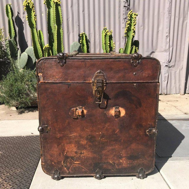 Antique Leather and Wood Trunk, Circa 1890 For Sale In San Diego - Image 6 of 12