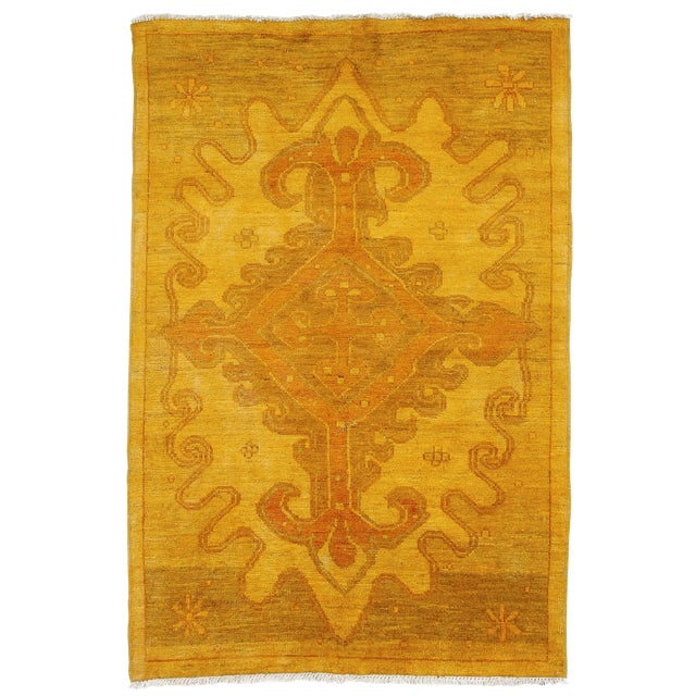 """Yellow Moroccan Hand-Knotted Rug - 5' 0"""" x 7' 10"""" - Image 1 of 3"""