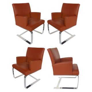 De Sede of Switzerland Cantilevered Leather and Stainless Steel Chairs - Set of 4 For Sale