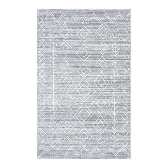Maxwell, Bohemian Moroccan Hand Loom Area Rug, Silver, 5 X 8 For Sale - Image 9 of 9