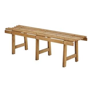 Mid-Century Modern Wooden Slat Bench For Sale