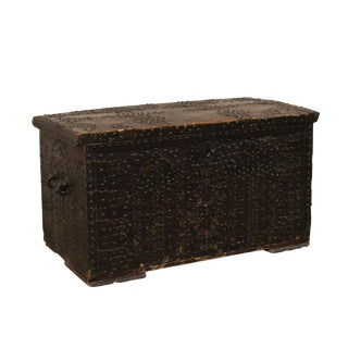 Late 18th Century Spanish Baroque Nailhead Coffer Wood Trunk For Sale
