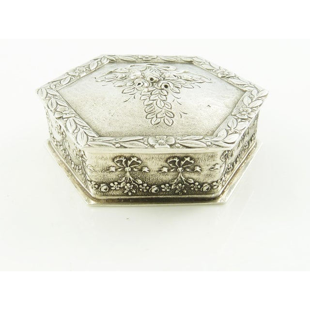 French Sterling Silver Box, Ribbons and Floral Motifs For Sale - Image 6 of 7