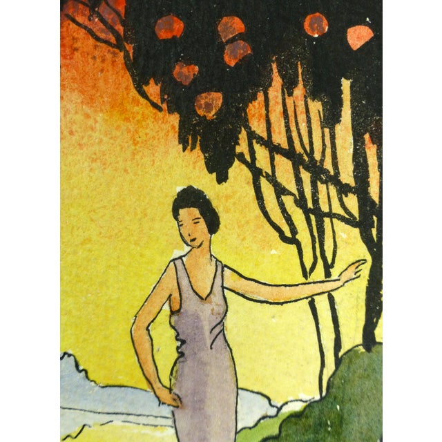 """Vintage 1920 """"Sunset Saunter"""" Watercolor Painting - Image 2 of 3"""