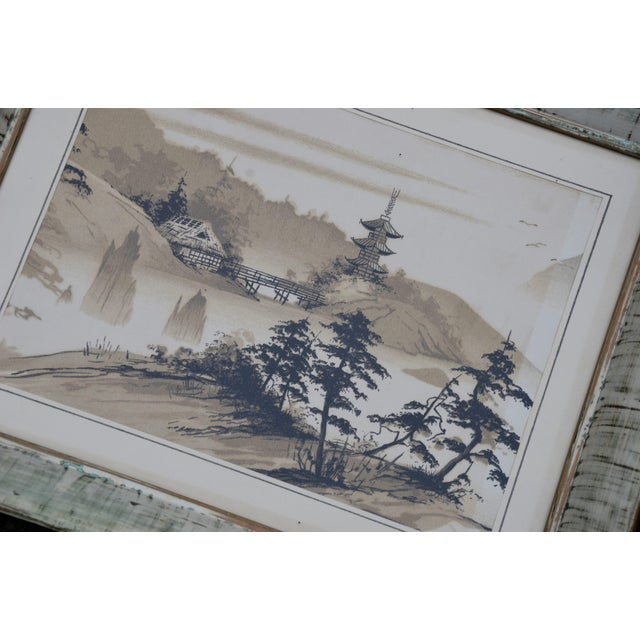 Tan Vintage Mid-Century James Bunnell Chinoiserie Ink Prints - A Pair For Sale - Image 8 of 13