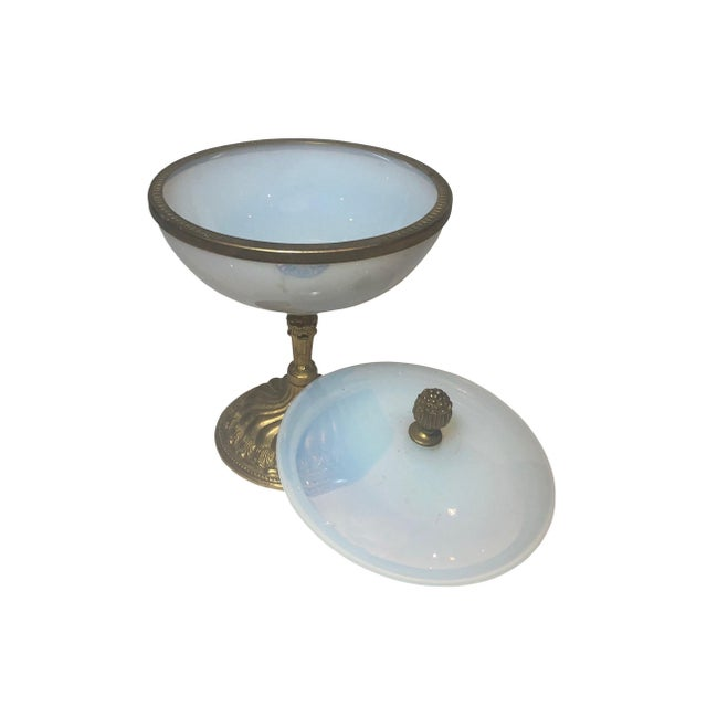 French 19th Century French White Opaline Covered Compote For Sale - Image 3 of 6
