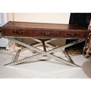 Steel and Faux Alligator Console Table Preview