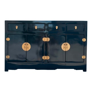 20th Century Asian Ming Style High Gloss Blue Sideboard For Sale