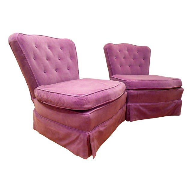 Lilac Velvet Vintage Chairs - A Pair For Sale