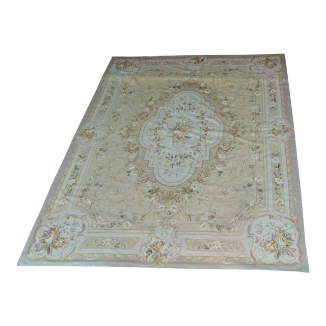 "Vintage French Aubusson Needlepoint Rug - 7' 8"" X 9'11"" - Image 1 of 11"