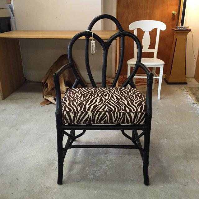 Black Rattan Zebra Pattern Fabric Chair - Image 6 of 6