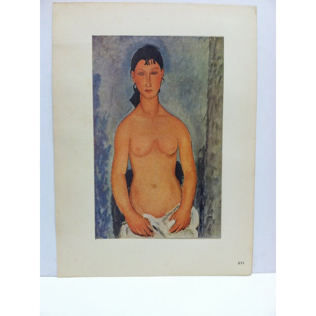 "This is a Mounted French Color Print that is titled ""Elvire Nue"" by Modigliani. The Print is dated Paris 1947 and is in..."