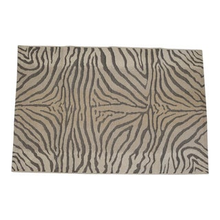 French Zebra Patterned Rug in Natural Fiber For Sale