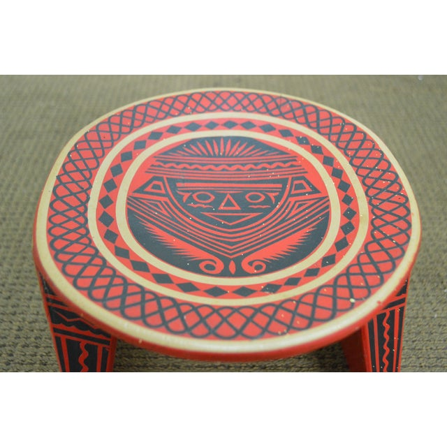 Vintage Hand Painted Aztec Tribal Stools - A Pair - Image 7 of 10