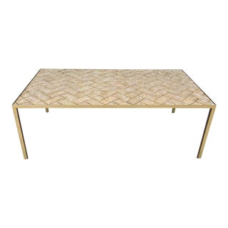 Maitland-Smith Inlaid Capiz Shell Coffee Table For Sale