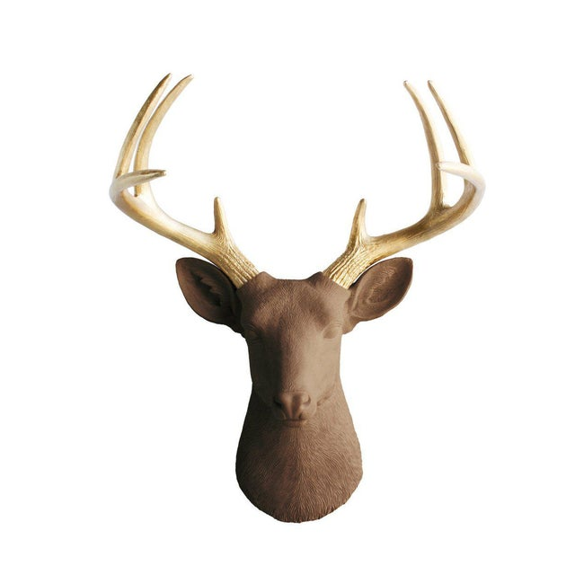 Wall Charmers Deer in Brown Chocolate + Gold Antler Faux Head Bust - Image 4 of 4