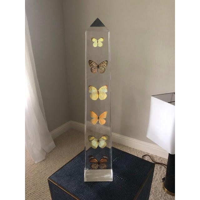 2010s Vintage Jonathan Adler Lucite Butterfly Obelisk For Sale - Image 5 of 5