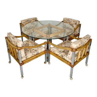 Vintage Bamboo and Chrome Dining Set For Sale