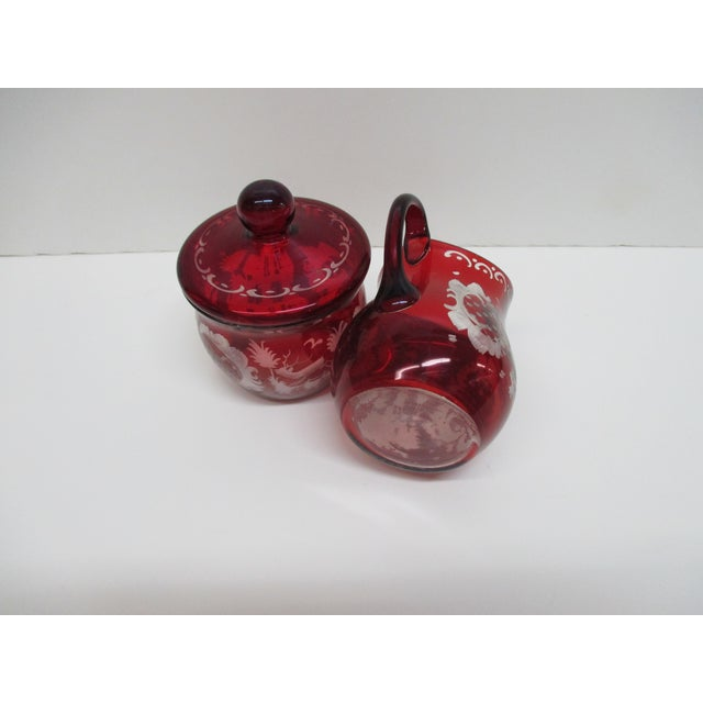 Vintage Set of Sugar and Creamer in Cranberry Glass With Lid For Sale - Image 4 of 6