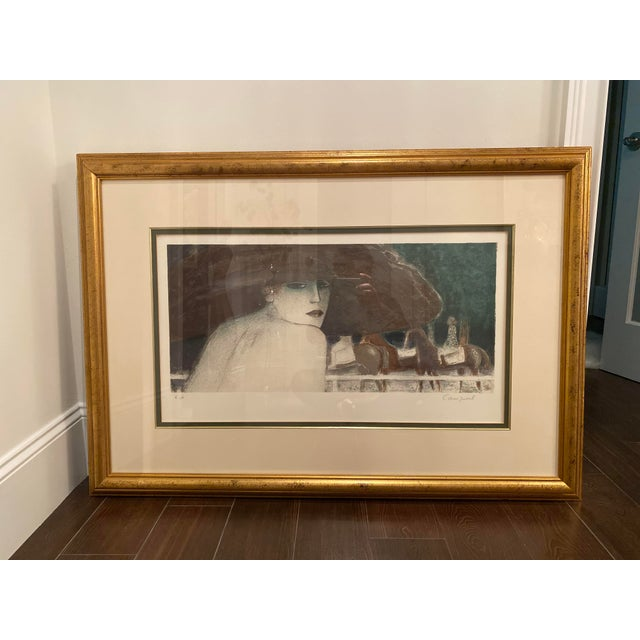 French Artist known for his beautiful portraits of women in hats that recalls the French Post Impressionist Era. E.A print...