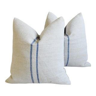 """French Country Double Blue Striped Grain-Sack Feather/Down Pillows 22"""" Square - Pair For Sale"""