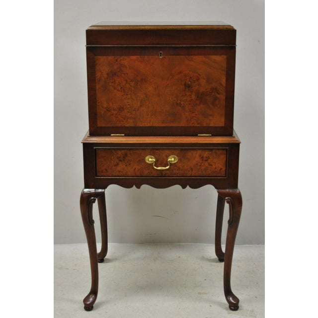 Hickory Chair Co. Mahogany & Burlwood Queen Anne Silverware Silver Chest. Item features solid wood construction, beautiful...