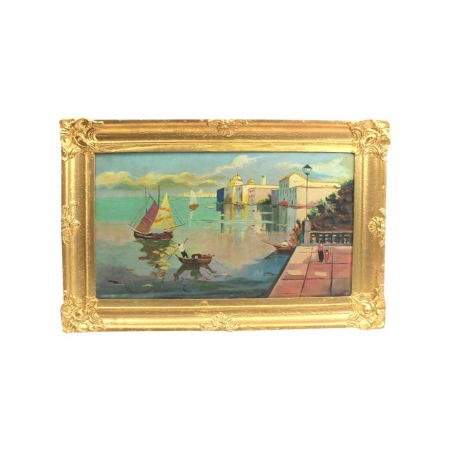 1930s Beach Mediterranean Fine Oil Painting - Image 1 of 9