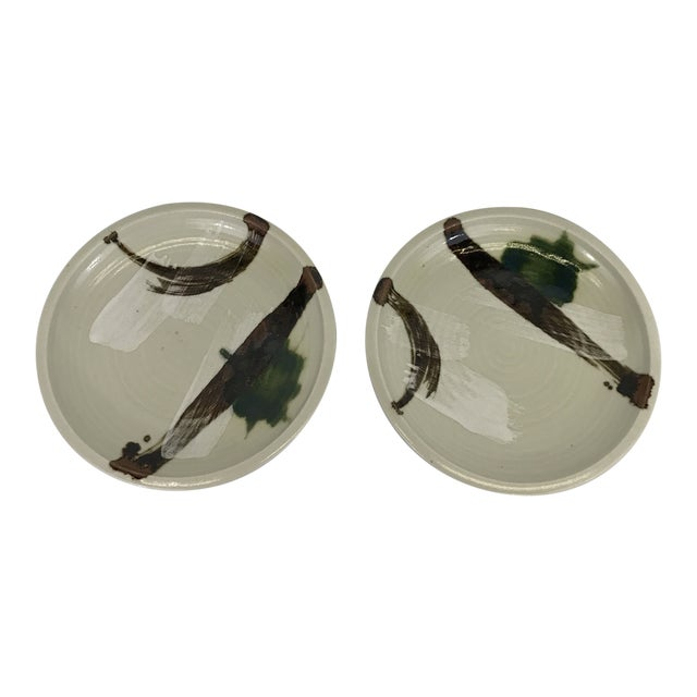 Painted Art Pottery Plates - a Pair For Sale
