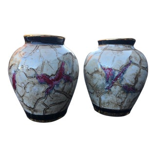 Vintage Italian Hand Painted Pottery Vases - Set of 2 For Sale