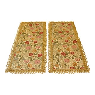 Brocade German Tablecloths With Petit Point Golden Edge - a Pair For Sale