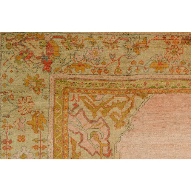 Bright Pink Antique Turkish Oushak Rug, 11' X 12'2'' For Sale - Image 4 of 10