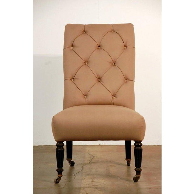 Brown Chic Napoleon III Tufted Chauffeuse For Sale - Image 8 of 8
