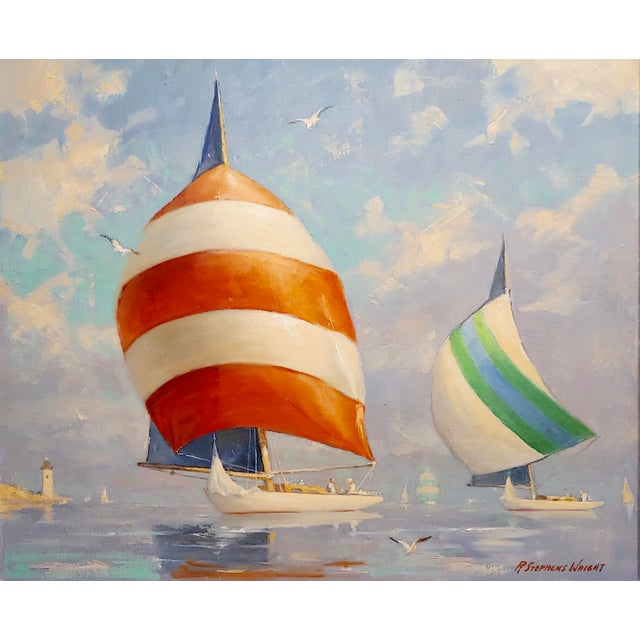 Americana Redmond Stephens Wright - Colorful Sailing Boats -Oil Painting For Sale - Image 3 of 8