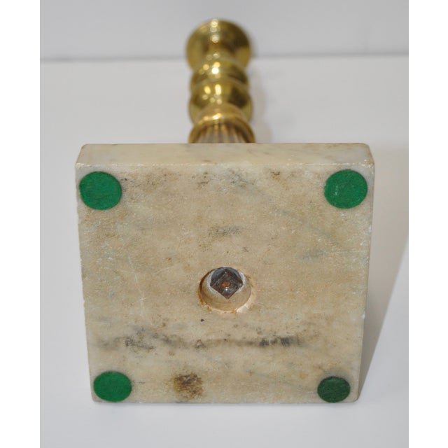 Victorian 19th Century Brass & Marble Candlestick For Sale - Image 3 of 4