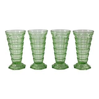 Art Deco Octagonal Stepped Glass Tumblers, Set of 4