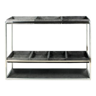 Grey Leather Shagreen 7-Tray Console