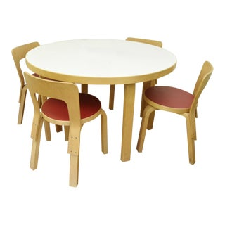 Alvar Aalto Icf Children's Table and 4x N65 Chairs - 5 Pieces For Sale