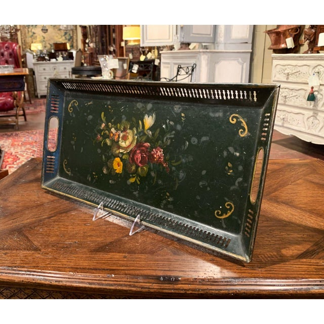 French 19th Century French Hand Painted Rectangular Gallery Tole Tray For Sale - Image 3 of 9