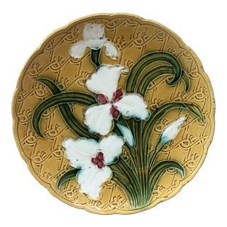 French Majolica White Iris Platter, Circa 1900 For Sale