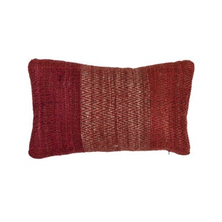 Indian Handwoven Pillow Red Twill For Sale