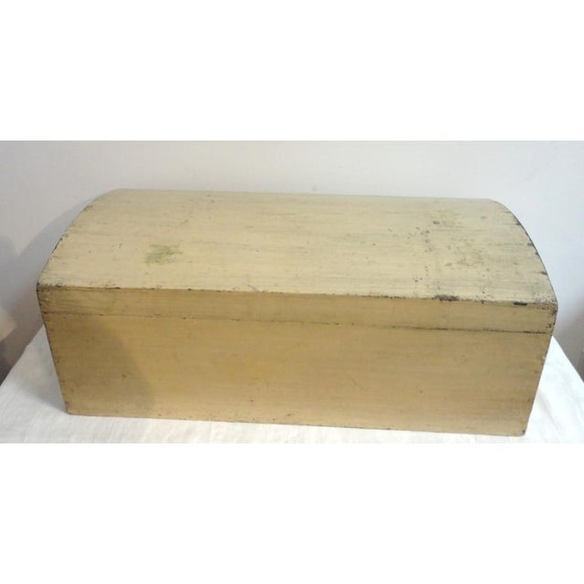 19th Century Original Cream Painted Dome Top Trunk from New England - Image 3 of 7