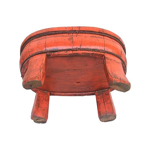 Chinese Carved Wood Red Lacquer Footed Bowl - Image 5 of 5