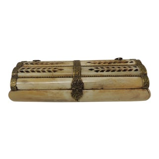 1980s Vintage Indian Rectangular Camel Bone Jewelry Box For Sale