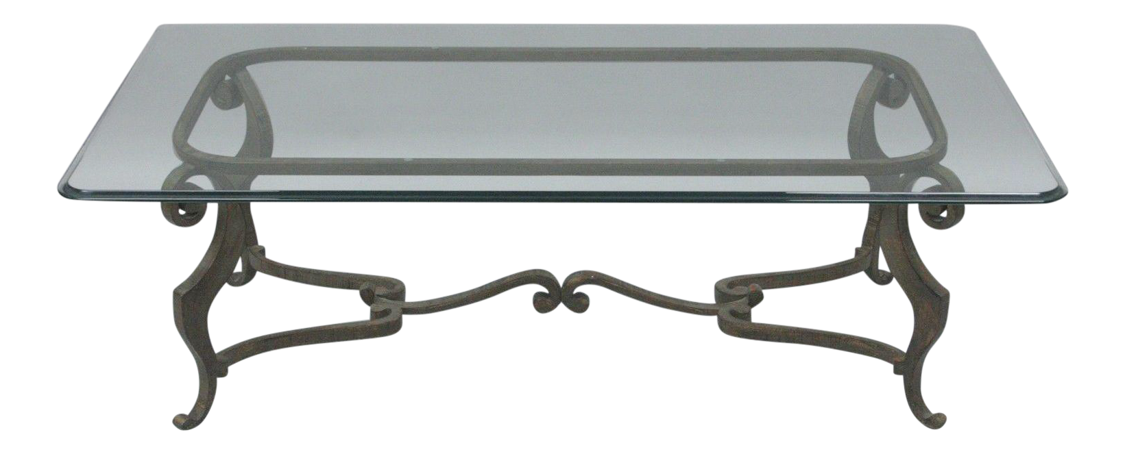 Heavy Iron Metal Scroll Decorator Coffee Table Glass Top Distressed