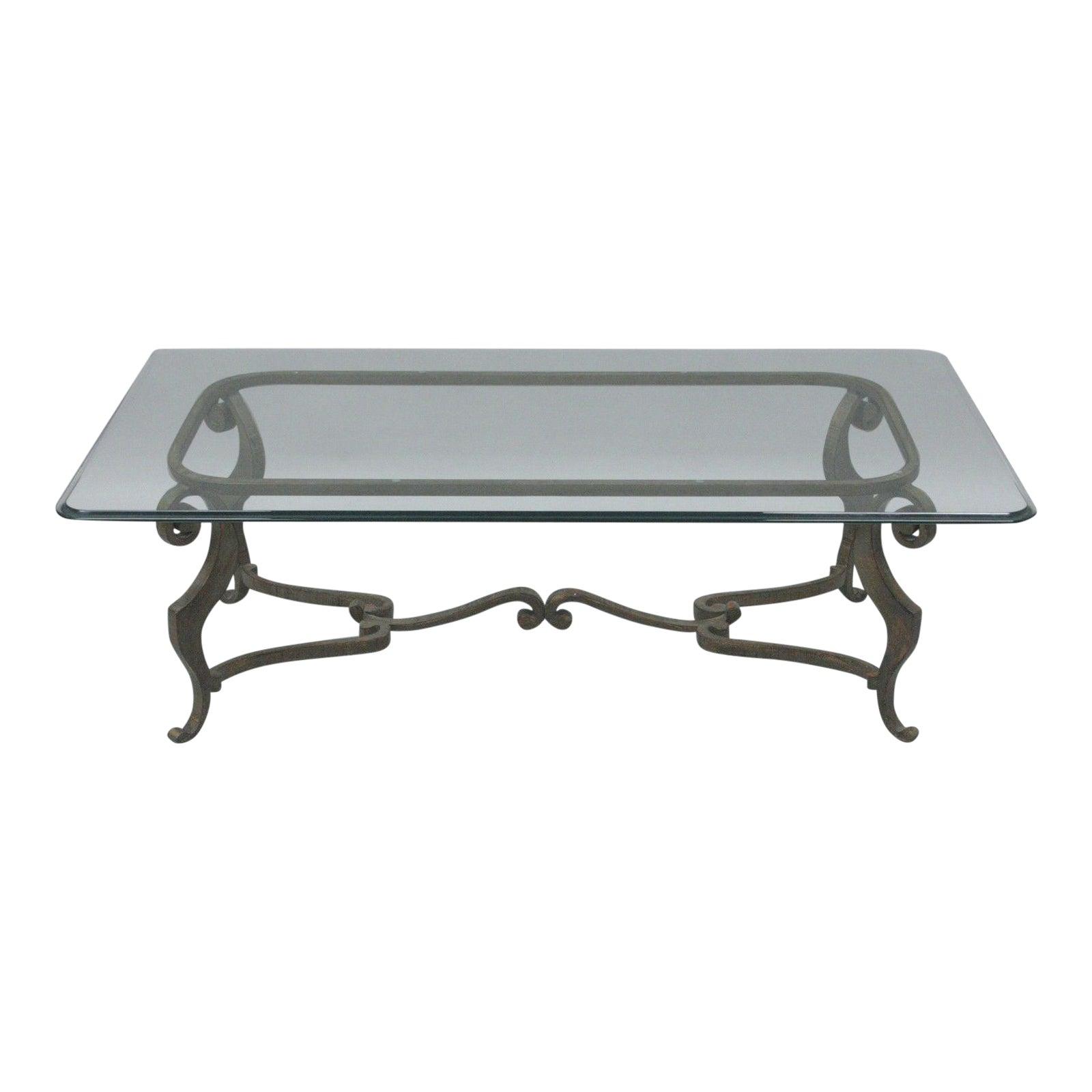 Heavy Iron Metal Scroll Decorator Coffee Table Glass Top Distressed